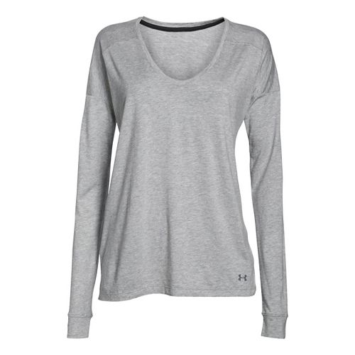 Womens Under Armour Favorite Collegiate Long Sleeve Technical Tops - True Grey Heather S