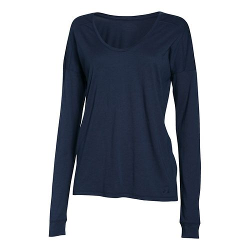 Womens Under Armour Favorite Collegiate Long Sleeve Technical Tops - Navy Seal S
