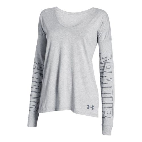 Womens Under Armour Favorite Collegiate - Outline Logo Long Sleeve Technical Tops - True Grey ...