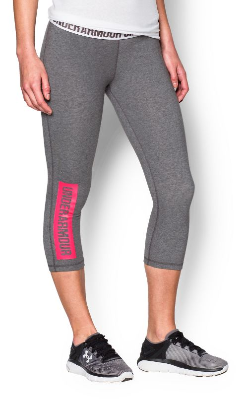Womens Under Armour Favorite Capris Pants - Heather/Red S