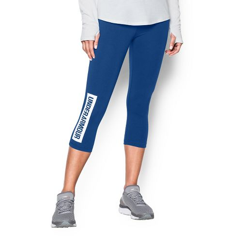 Womens Under Armour Favorite Capris Pants - Cobalt XL