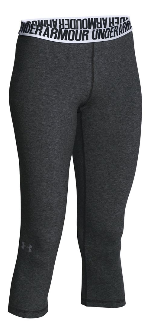 Womens Under Armour Favorite - Solid Capris Pants - Carbon Heather M