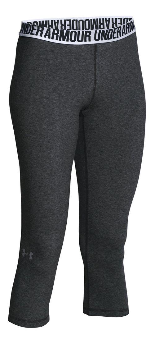 Womens Under Armour Favorite - Solid Capris Pants - Carbon Heather XS