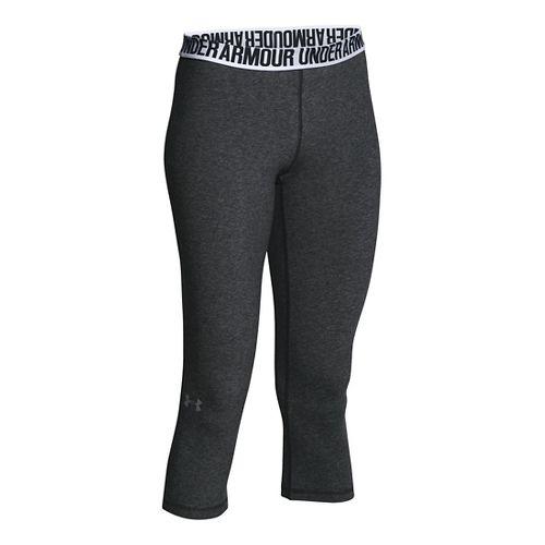 Womens Under Armour Favorite - Solid Capris Pants - Carbon Heather XL