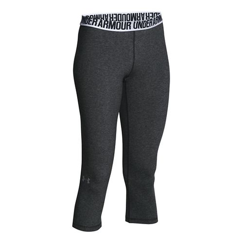 Womens Under Armour Favorite - Solid Capris Pants - Carbon Heather XS