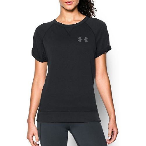 Womens Under Armour Favorite French Terry Crew Short Sleeve Technical Tops - Black M