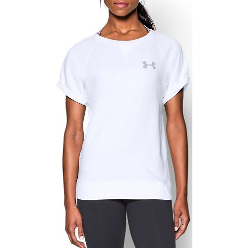 Womens Under Armour Favorite French Terry Crew Short Sleeve Technical Tops - White L