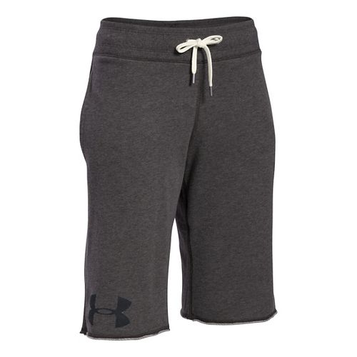 Womens Under Armour Favorite French Terry Boy Unlined Shorts - Carbon Heather XS