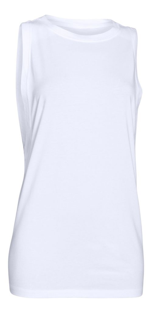 Womens Under Armour Studio Muscle Sleeveless & Tank Non-Technical Tops - White M