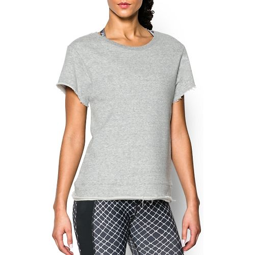 Womens Under Armour Studio Boxy Crew Short Sleeve Technical Tops - True Grey Heather M ...
