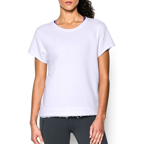 Womens Under Armour Studio Boxy Crew Short Sleeve Technical Tops - White XL
