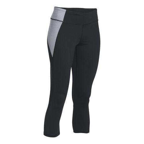 Womens Under Armour Shape Shifter Crop Capris Pants - Black/White M