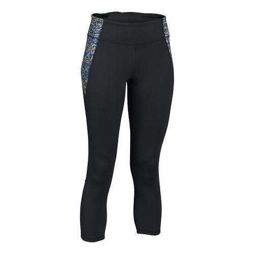 Womens Under Armour Shape Shifter Printed Crop Capris Pants - Black/Silver M
