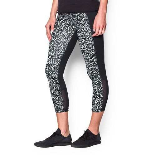 Womens Under Armour Shape Shifter Printed Crop Capris Pants - Black/White M
