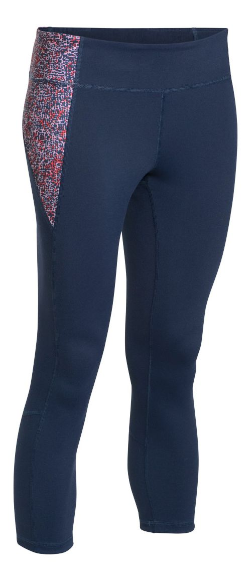 Womens Under Armour Shape Shifter Printed Crop Capris Pants - Navy Seal/Pink S