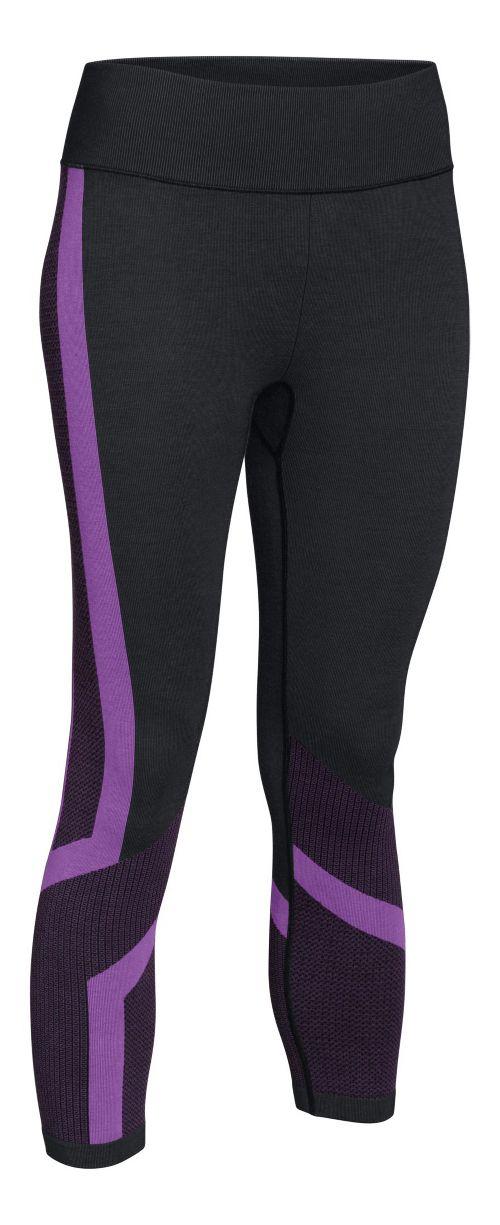 Womens Under Armour Seamless Crop Capris Pants - Black/Magenta S