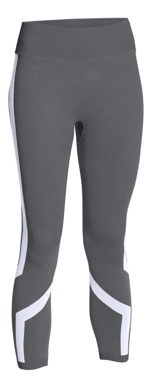 Womens Under Armour Seamless Crop Capris Pants - Graphite/White M