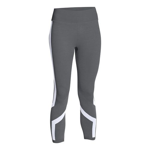 Womens Under Armour Seamless Crop Capris Pants - Graphite/White M