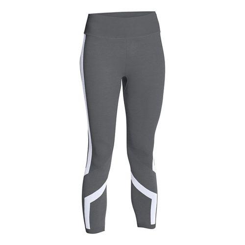 Womens Under Armour Seamless Crop Capris Pants - Graphite/White XS