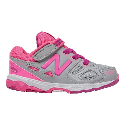 Kids New Balance 680v3 Running Shoe - Grey/Pink 5.5C
