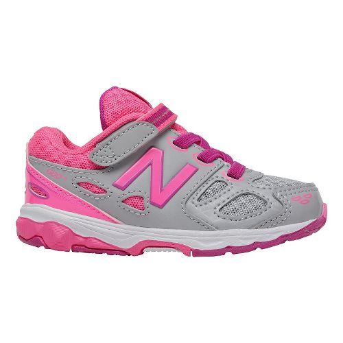 Kids New Balance 680v3 Running Shoe - Grey/Pink 5C