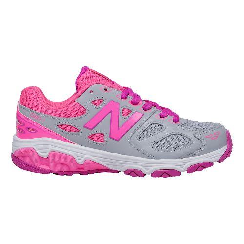 Kids New Balance 680v3 Running Shoe - Grey/Pink 6Y