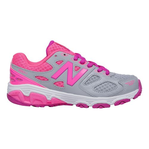 Kids New Balance 680v3 Running Shoe - Grey/Pink 6Y