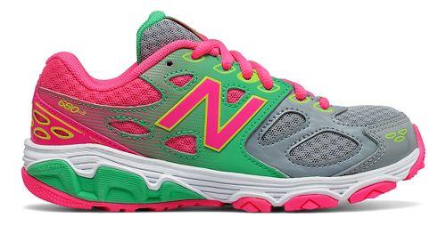New Balance 680v3 Running Shoe - Grey/Green/Pink 7Y