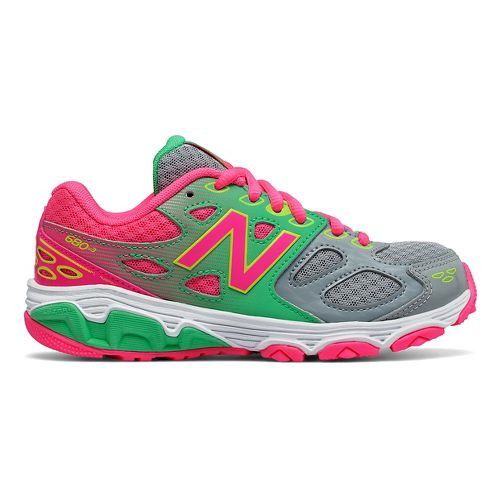New Balance 680v3 Running Shoe - Grey/Green/Pink 4.5Y