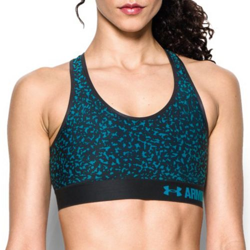 Womens Under Armour Printed Mid Sports Bras - Black/Black L