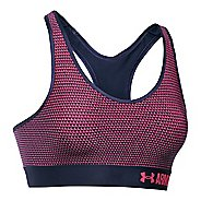 Womens Under Armour Printed Mid Sports Bras - Midnight Navy/Pink S