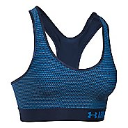 Womens Under Armour Printed Mid Sports Bras - Midnight Navy/Water S