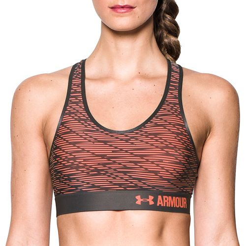 Womens Under Armour Printed Mid Sports Bras - Orange/Charcoal L
