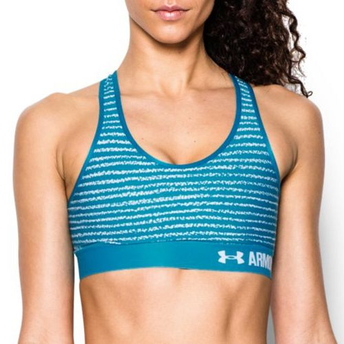 Womens Under Armour Printed Mid Sports Bras - Aqua Blue S