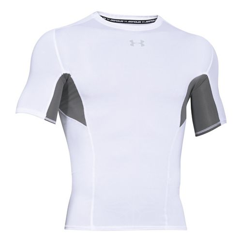Mens Under Armour HeatGear CoolSwitch Compression Short Sleeve Technical Tops - White SR