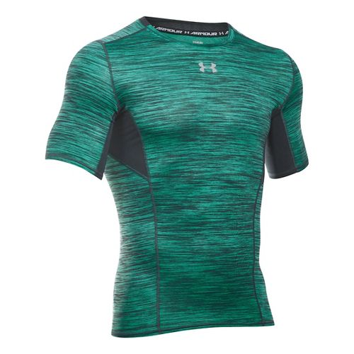 Mens Under Armour HeatGear CoolSwitch Compression Short Sleeve Technical Tops - Green Malachite MR