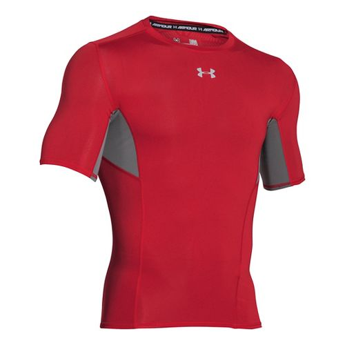 Mens Under Armour HeatGear CoolSwitch Compression Short Sleeve Technical Tops - Red 3XLR