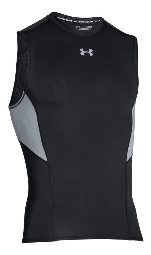 Mens Under Armour HeatGear CoolSwitch Compression Sleeveless & Tank Technical Tops - Black M