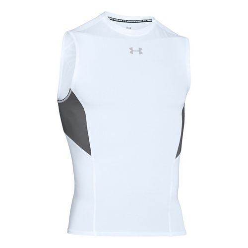Mens Under Armour HeatGear CoolSwitch Compression Sleeveless & Tank Technical Tops - White S