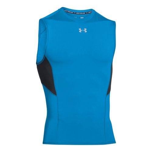 Mens Under Armour HeatGear CoolSwitch Compression Sleeveless & Tank Technical Tops - Electric ...