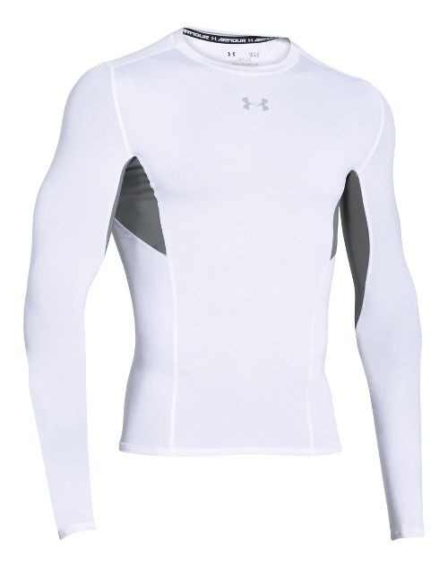 Mens Under Armour HeatGear CoolSwitch Compression Shirt Long Sleeve Technical Tops - White L