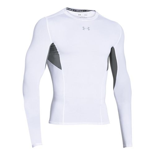 Mens Under Armour HeatGear CoolSwitch Compression Shirt Long Sleeve Technical Tops - White XL
