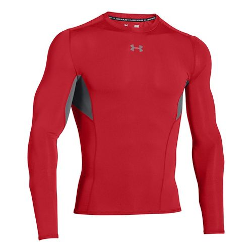 Mens Under Armour HeatGear CoolSwitch Compression Shirt Long Sleeve Technical Tops - Red 3XL