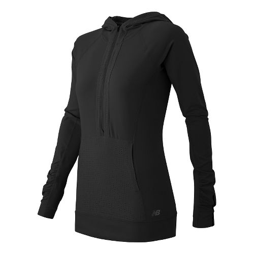 Womens New Balance Petal Performance Half Zip Long Sleeve Technical Tops - Black S
