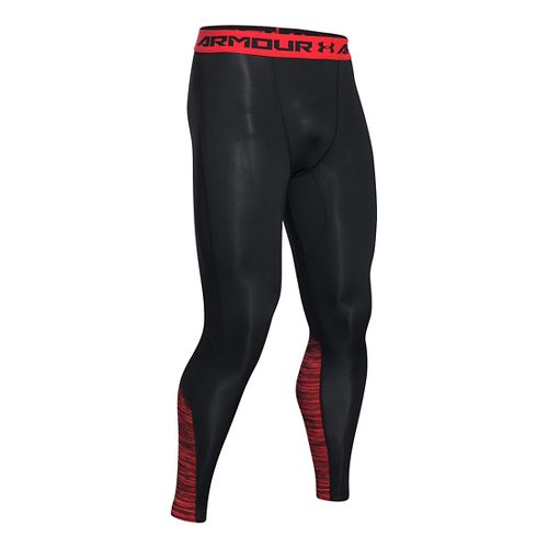 Mens Under Armour HeatGear CoolSwitch Compression Tights & Leggings Pants - Black/Rocket Red L
