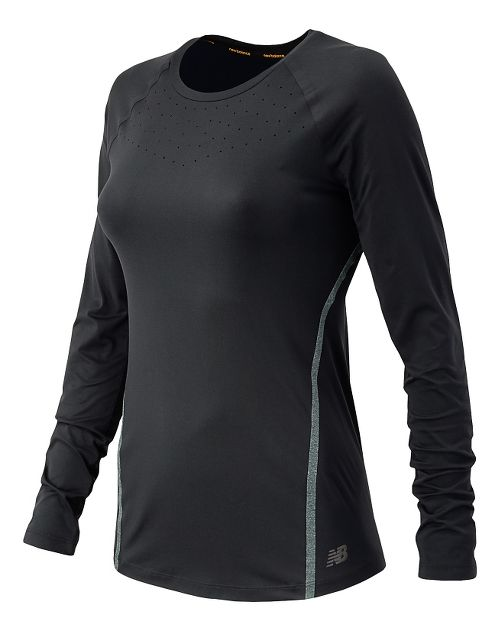 Womens New Balance Trinamic Long Sleeve Technical Tops - Black XS