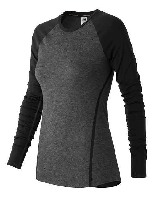 Womens New Balance Trinamic Long Sleeve Technical Tops - Heather Charcoal XS