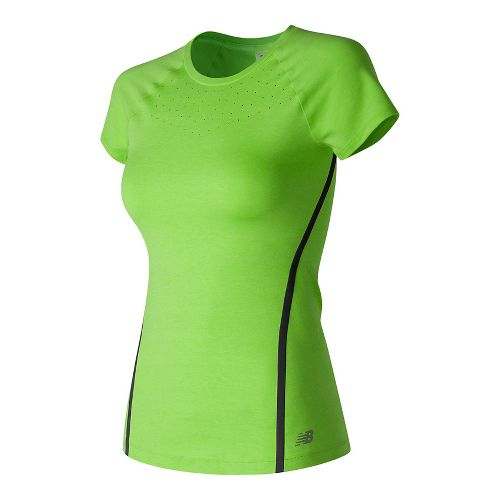 Womens New Balance Trinamic Short Sleeve Technical Tops - Lime Glow Heather M