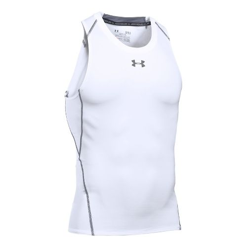Mens Under Armour HeatGear Armour Compression Sleeveless & Tank Technical Tops - White XXL-R