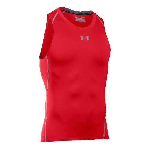 Mens Under Armour Heatgear Armour Compression Sleeveless & Tank Tops Technical Tops - Red S ...